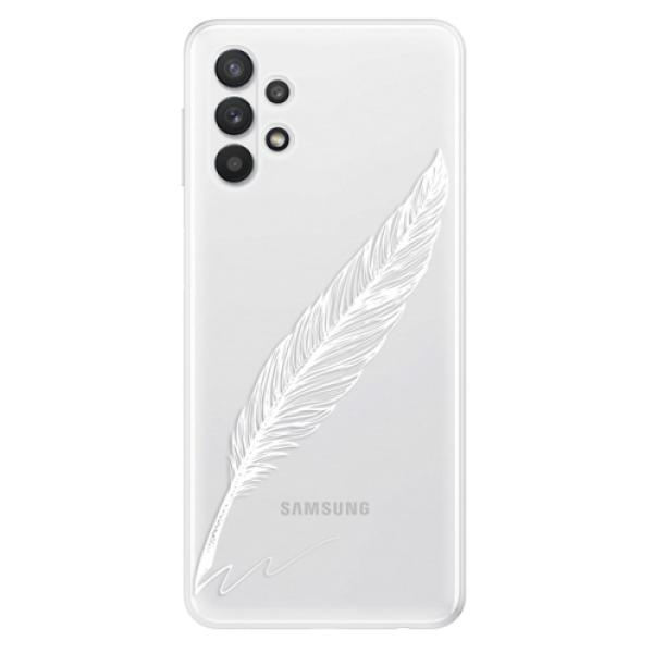 Odolné silikonové pouzdro iSaprio - Writing By Feather - white - Samsung Galaxy A32 5G