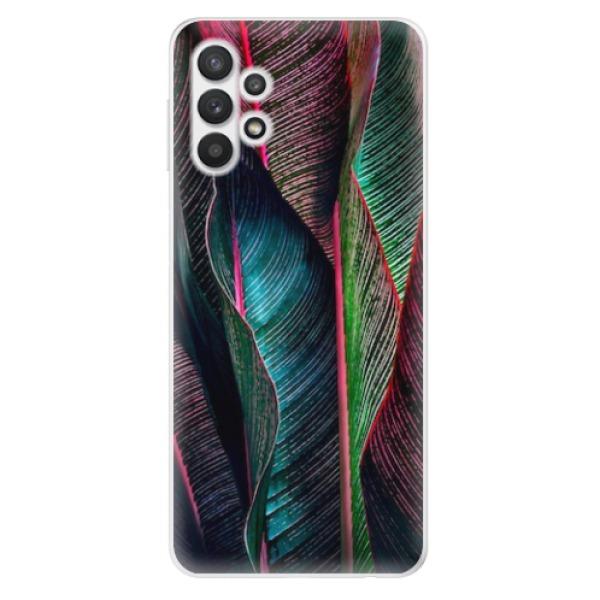 Odolné silikonové pouzdro iSaprio - Black Leaves - Samsung Galaxy A32 5G
