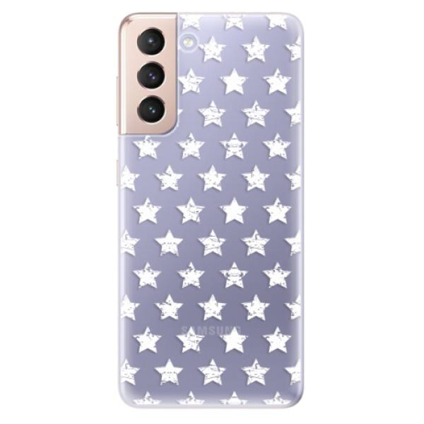 Odolné silikonové pouzdro iSaprio - Stars Pattern - white - Samsung Galaxy S21