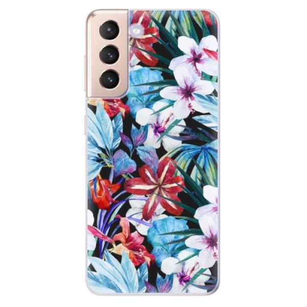 Odolné silikonové pouzdro iSaprio - Tropical Flowers 05 - Samsung Galaxy S21