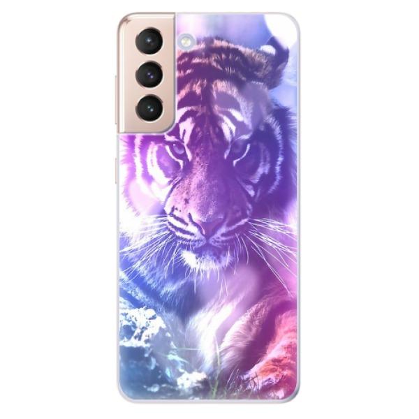 Odolné silikonové pouzdro iSaprio - Purple Tiger - Samsung Galaxy S21