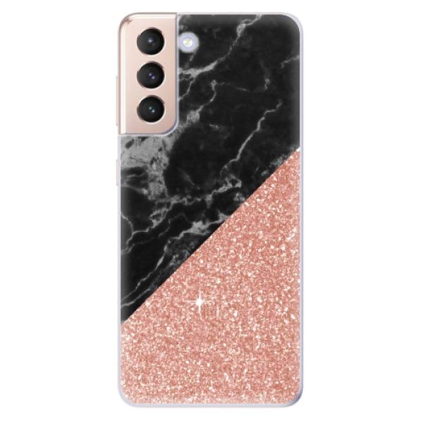 Odolné silikonové pouzdro iSaprio - Rose and Black Marble - Samsung Galaxy S21