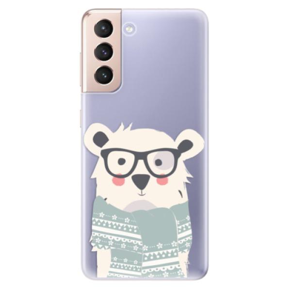 Odolné silikonové pouzdro iSaprio - Bear with Scarf - Samsung Galaxy S21