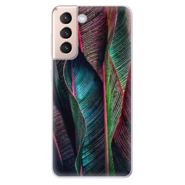 Odolné silikonové pouzdro iSaprio - Black Leaves - Samsung Galaxy S21