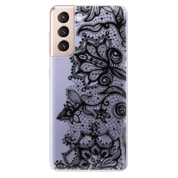Odolné silikonové pouzdro iSaprio - Black Lace - Samsung Galaxy S21