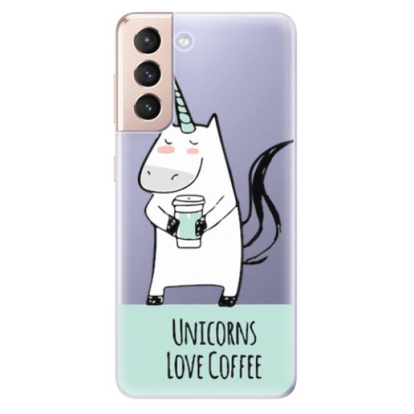 Odolné silikonové pouzdro iSaprio - Unicorns Love Coffee - Samsung Galaxy S21