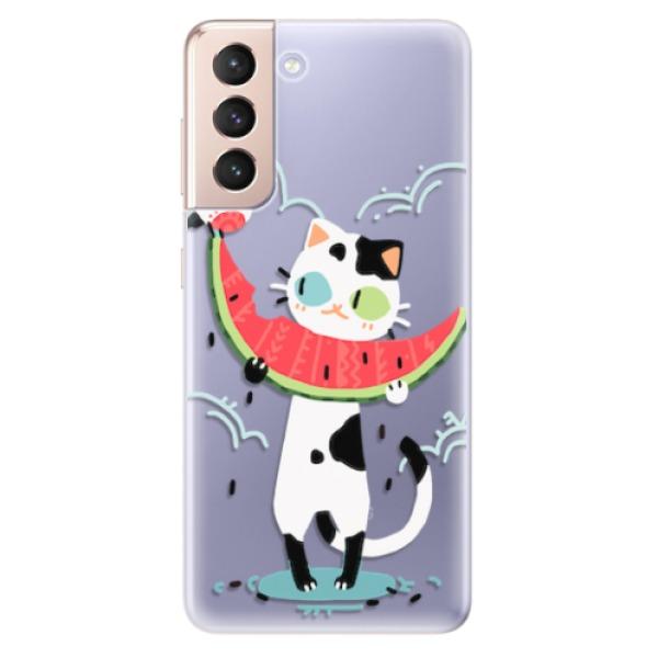 Odolné silikonové pouzdro iSaprio - Cat with melon - Samsung Galaxy S21