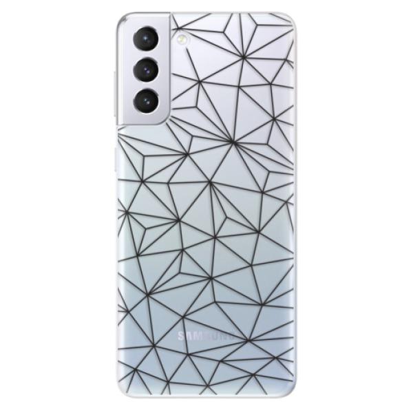 Odolné silikonové pouzdro iSaprio - Abstract Triangles 03 - black - Samsung Galaxy S21+