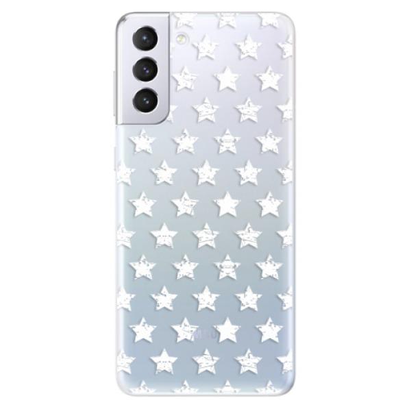 Odolné silikonové pouzdro iSaprio - Stars Pattern - white - Samsung Galaxy S21+