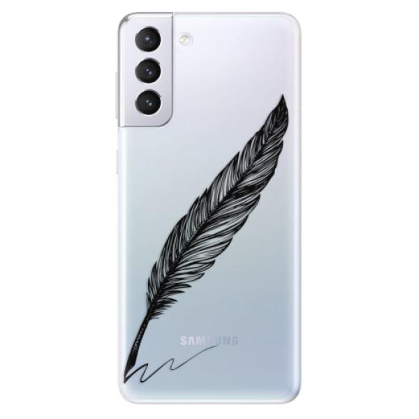 Odolné silikonové pouzdro iSaprio - Writing By Feather - black - Samsung Galaxy S21+