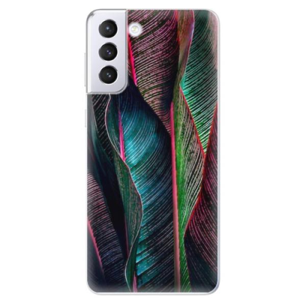 Odolné silikonové pouzdro iSaprio - Black Leaves - Samsung Galaxy S21+
