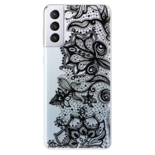 Odolné silikonové pouzdro iSaprio - Black Lace - Samsung Galaxy S21+