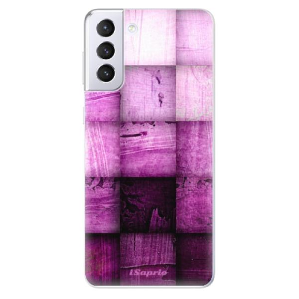 Odolné silikonové pouzdro iSaprio - Purple Squares - Samsung Galaxy S21+