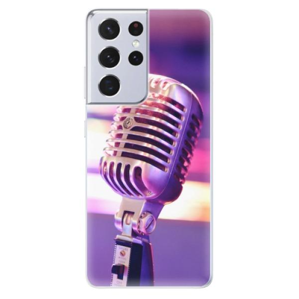 Odolné silikonové pouzdro iSaprio - Vintage Microphone - Samsung Galaxy S21 Ultra