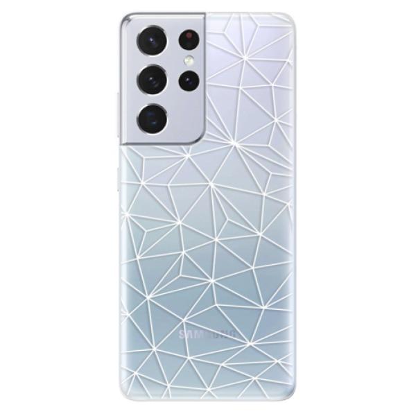 Odolné silikonové pouzdro iSaprio - Abstract Triangles 03 - white - Samsung Galaxy S21 Ultra