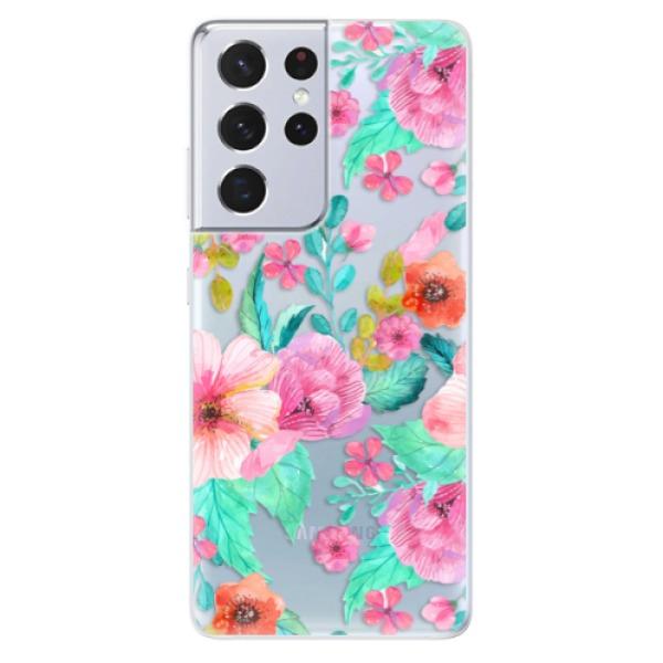Odolné silikonové pouzdro iSaprio - Flower Pattern 01 - Samsung Galaxy S21 Ultra
