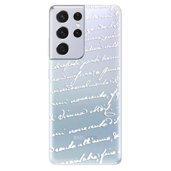 Odolné silikonové pouzdro iSaprio - Handwriting 01 - white - Samsung Galaxy S21 Ultra