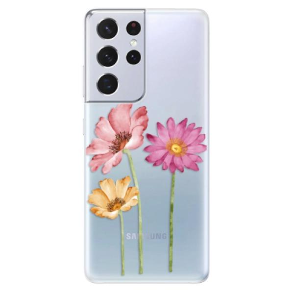 Odolné silikonové pouzdro iSaprio - Three Flowers - Samsung Galaxy S21 Ultra