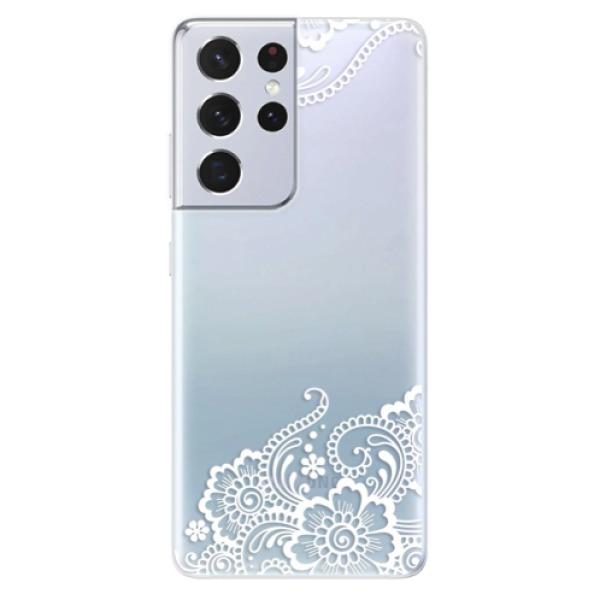Odolné silikonové pouzdro iSaprio - White Lace 02 - Samsung Galaxy S21 Ultra