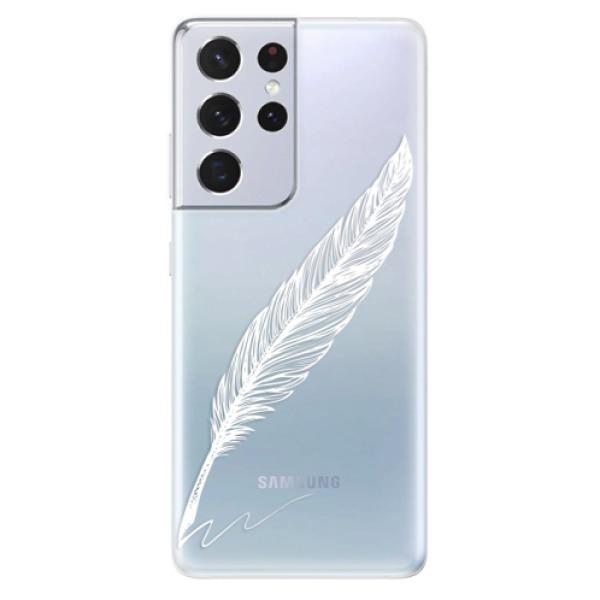 Odolné silikonové pouzdro iSaprio - Writing By Feather - white - Samsung Galaxy S21 Ultra