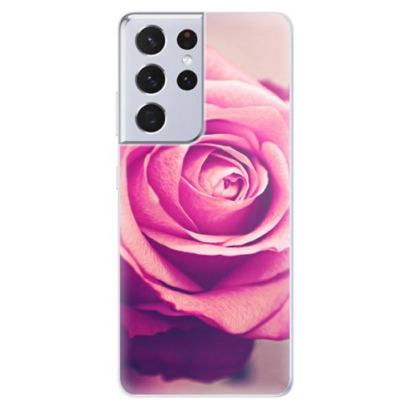 Odolné silikonové pouzdro iSaprio - Pink Rose - Samsung Galaxy S21 Ultra