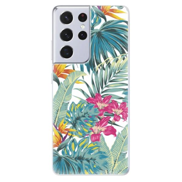 Odolné silikonové pouzdro iSaprio - Tropical White 03 - Samsung Galaxy S21 Ultra