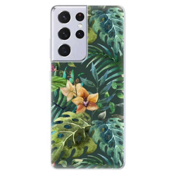 Odolné silikonové pouzdro iSaprio - Tropical Green 02 - Samsung Galaxy S21 Ultra