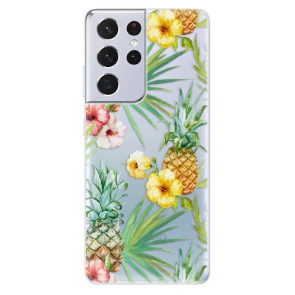 Odolné silikonové pouzdro iSaprio - Pineapple Pattern 02 - Samsung Galaxy S21 Ultra