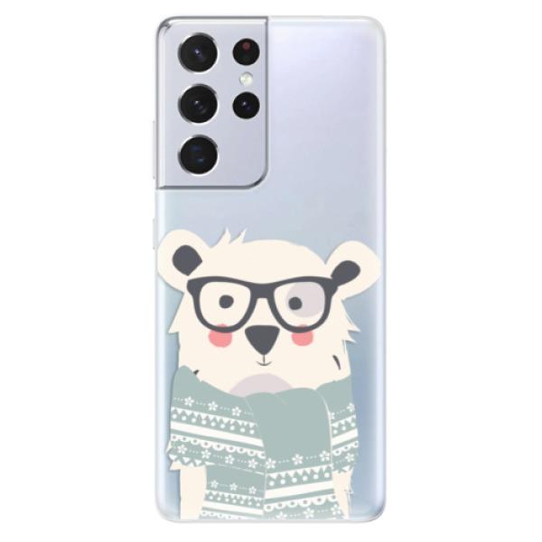 Odolné silikonové pouzdro iSaprio - Bear with Scarf - Samsung Galaxy S21 Ultra