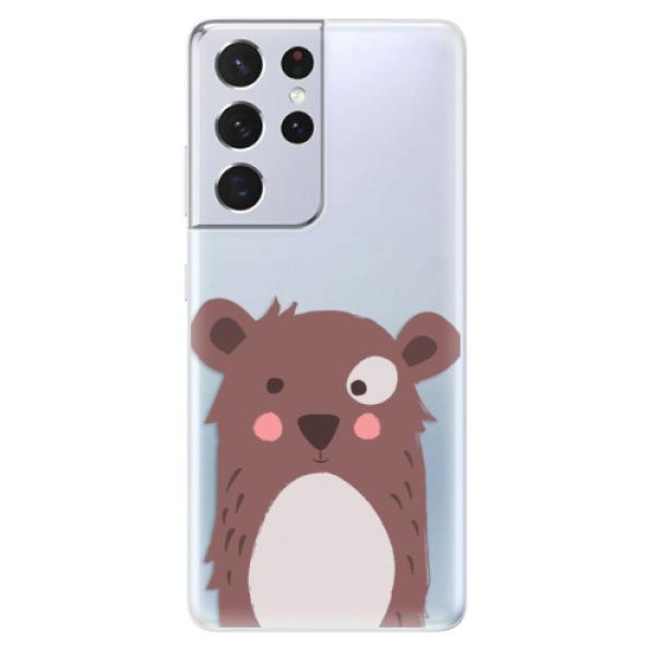 Odolné silikonové pouzdro iSaprio - Brown Bear - Samsung Galaxy S21 Ultra