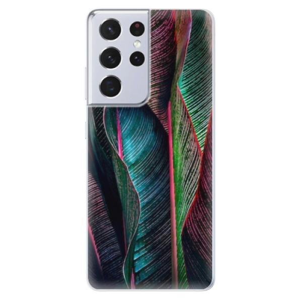 Odolné silikonové pouzdro iSaprio - Black Leaves - Samsung Galaxy S21 Ultra
