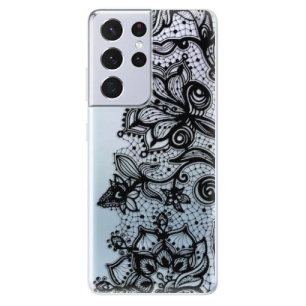Odolné silikonové pouzdro iSaprio - Black Lace - Samsung Galaxy S21 Ultra
