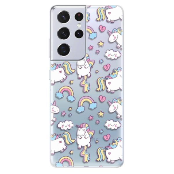 Odolné silikonové pouzdro iSaprio - Unicorn pattern 02 - Samsung Galaxy S21 Ultra
