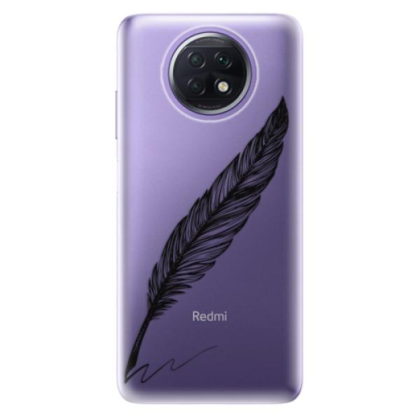 Odolné silikonové pouzdro iSaprio - Writing By Feather - black - Xiaomi Redmi Note 9T