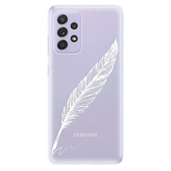 Odolné silikonové pouzdro iSaprio - Writing By Feather - white - Samsung Galaxy A52/A52 5G
