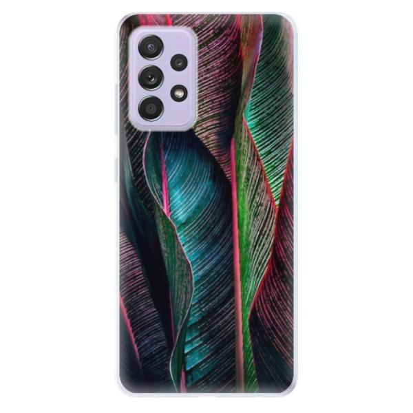 Odolné silikonové pouzdro iSaprio - Black Leaves - Samsung Galaxy A52/A52 5G