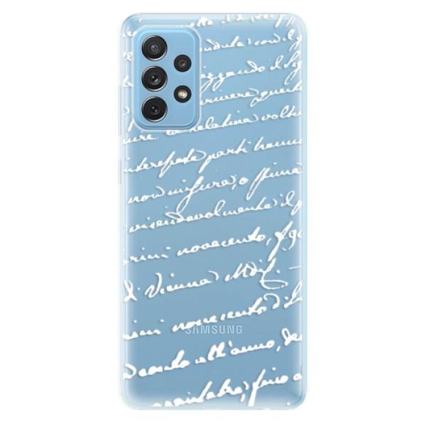Odolné silikonové pouzdro iSaprio - Handwriting 01 - white - Samsung Galaxy A72