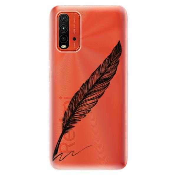 Odolné silikonové pouzdro iSaprio - Writing By Feather - black - Xiaomi Redmi 9T