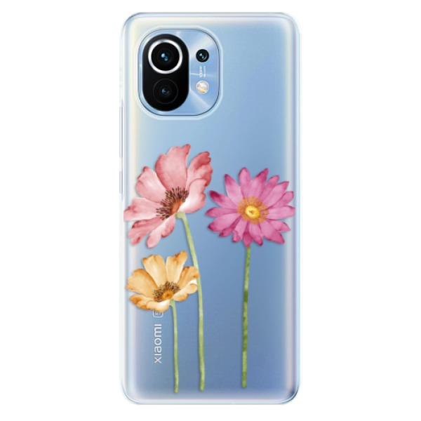 Odolné silikonové pouzdro iSaprio - Three Flowers - Xiaomi Mi 11