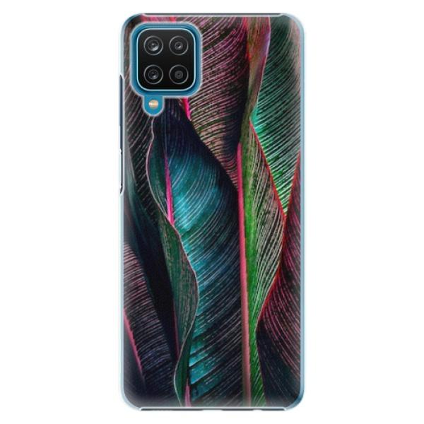 Plastové pouzdro iSaprio - Black Leaves - Samsung Galaxy A12