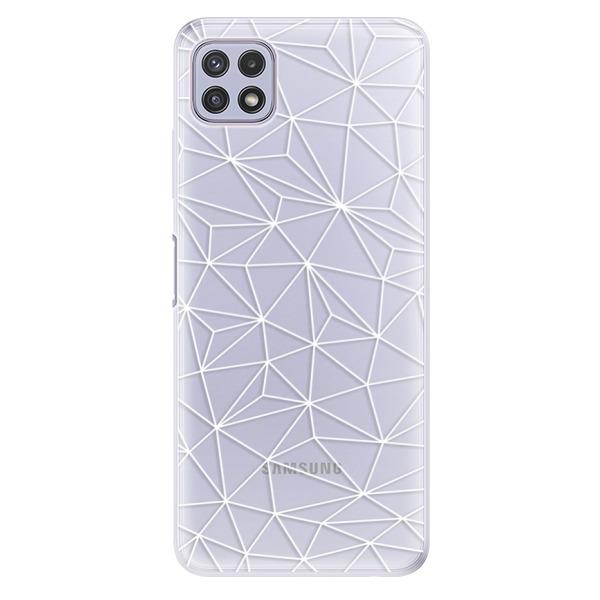 Odolné silikonové pouzdro iSaprio - Abstract Triangles 03 - white - Samsung Galaxy A22 5G