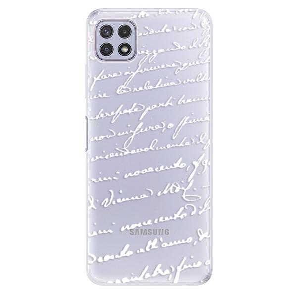 Odolné silikonové pouzdro iSaprio - Handwriting 01 - white - Samsung Galaxy A22 5G