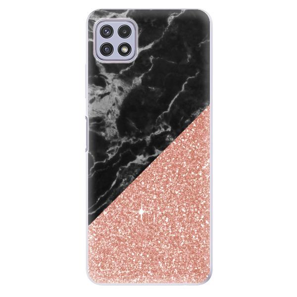 Odolné silikonové pouzdro iSaprio - Rose and Black Marble - Samsung Galaxy A22 5G