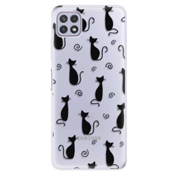 Odolné silikonové pouzdro iSaprio - Cat pattern 05 - black - Samsung Galaxy A22 5G