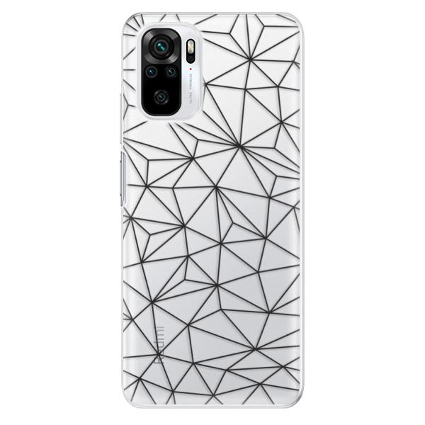 Odolné silikonové pouzdro iSaprio - Abstract Triangles 03 - black - Xiaomi Redmi Note 10 / Note 10S