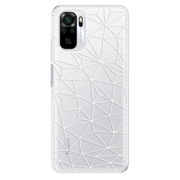 Odolné silikonové pouzdro iSaprio - Abstract Triangles 03 - white - Xiaomi Redmi Note 10 / Note 10S