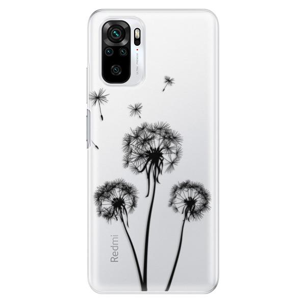 Odolné silikonové pouzdro iSaprio - Three Dandelions - black - Xiaomi Redmi Note 10 / Note 10S