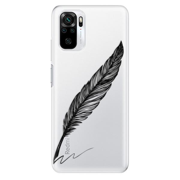 Odolné silikonové pouzdro iSaprio - Writing By Feather - black - Xiaomi Redmi Note 10 / Note 10S