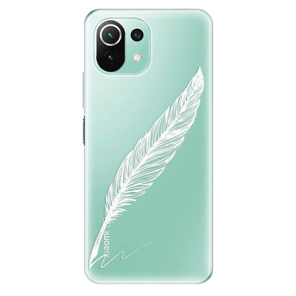 Odolné silikonové pouzdro iSaprio - Writing By Feather - white - Xiaomi Mi 11 Lite