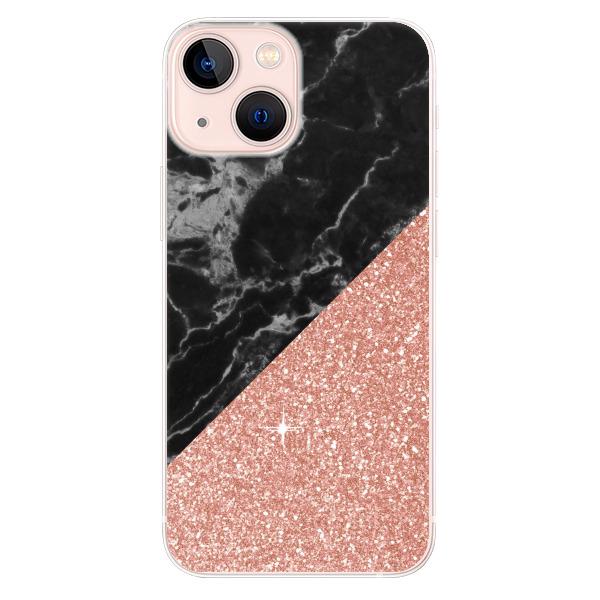 Odolné silikonové pouzdro iSaprio - Rose and Black Marble - iPhone 13 mini